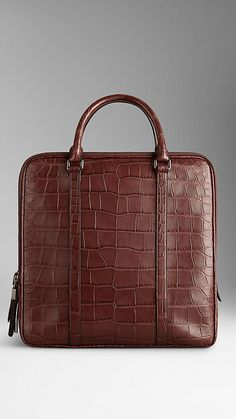 Alligator Briefcase with Digital Compartment | Burberry at $32,000 USD