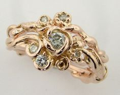Diamond and Rose Gold Wedding Set, Rose Garden Series. $1,389.00, via Etsy.
