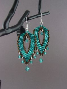 Beadwork Large Russian Leaf Earrings-Teal and Bronze