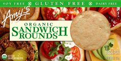 Amy's new Sandwich Rounds: easy to toast for sandwiches/tuna melts - gluten free and made with organic ingredients