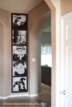 Great way to spruce up a little wall. Large Prints. Photographs.  Maybe on the kitchen small wall or in the hallway