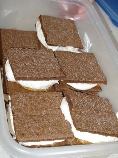 Satisfies the sweet tooth without the calories. Frozen chocolate graham crackers with cool whip and peanut butter