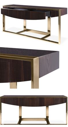 Add a touch of opulence with this Aldgate console. The high shine chestnut table top, polished to glossy perfection, is contrasted with an asymmetric leg design in a contemporary Superior Gold finish.