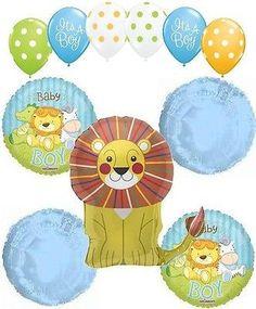 11pc Baby Boy Lion Balloon Bouquet Decoration Safari Jungle Animal Zoo Shower