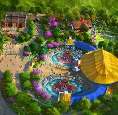 Late March 2012 - Half of Storybook Circus with double Dumbo, Great Goofini coaster, Fantasyland Train Station, Casey Jr.