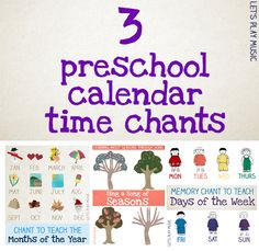 3 calendar time songs - very handy for starting off the new school year