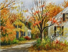 GARY SHEPARD    Autumn landscape with two houses..jpg