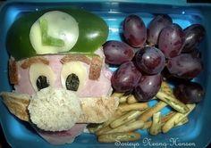 Luigi from Super Mario Bro. open sandwich