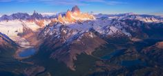 Fitz Roy and Cerro Torre aerial pano by Vadim Balakin World's Biggest, Wonders Of The World, Patagonia, Mount Everest, Photo Galleries, Explore, Mountains, Landscape, Gallery