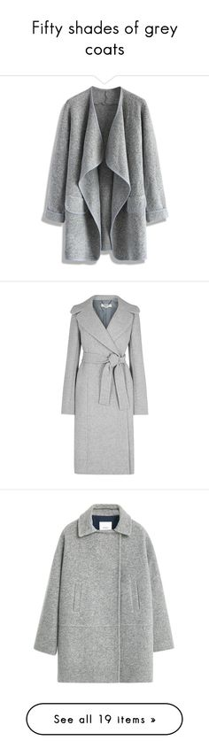 """""""Fifty shades of grey coats"""" by liberty-s ❤ liked on Polyvore featuring outerwear, coats, jackets, cardigans, casacos, grey, gray coat, grey coat, long gray coat and stella mccartney coat"""