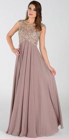 Poly USA 7354 Empire Waist Long Chiffon Mocha Gown Cap Sleeve Lace Evening  Dresses 3c36bb4b6d7d