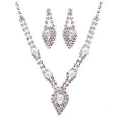 Bridal Wedding Jewelry Set Elegant Rhinestone Pearl  - Click image twice for more info - See a larger selection of bridal jewelry at http://zweddingsupply.com/product-category/jewelry/ -  woman, wedding fashion, wedding style, bride accessories, wedding ideas