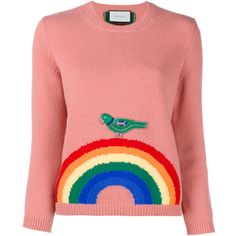 Gucci Wool Rainbow Knit ($820) ❤ liked on Polyvore featuring tops, sweaters, gucci, red knit sweater, red wool sweater, red sweater, knit tops and pink top