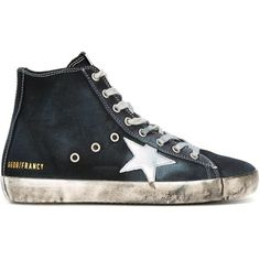Golden Goose Deluxe Brand 'Francy' hi-top sneakers (552 CAD) ❤ liked on Polyvore featuring shoes, sneakers, blue, blue high tops, lace up high top sneakers, high top sneakers, leather sneakers and blue flat shoes