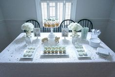 Mint and white boy's baby shower Mint Baby Shower, Baby Shower Table, Gender Neutral Baby Shower, Baby Boy Shower, Baby Party, Baby Shower Parties, Baby Shower Themes, Baby Showers, Shower Ideas