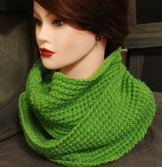 Handmade Hand Knit Textured Wool Bright Leafy Green Cowl, Neck Warmer, Infinity Scarf by BeachBumKnits on Etsy