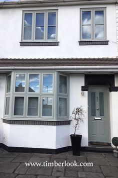 Customer installation of flush casements with a matching composite door. Visit our website for free samples, swatch books and to request a quotation! 1930s House Exterior, Cottage Exterior, House Paint Exterior, Bay Window Exterior, Exterior Design, Sash Windows, House Windows, Windows And Doors, Front Doors