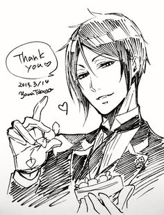 Happy White-Day from Sebastian Michaelis! { drawn by Yana Toboso}