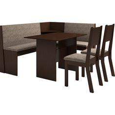 [CASAMOB]Conjunto Mesa de Canto Kamy com Banco e 2 Cadeiras Choco/Canela R$359,91
