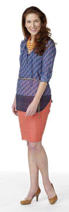 Tunic top with crochet pencil skirt #MadAboutSpring