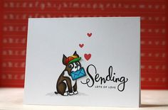 Card features the SSS Sending Happy Thoughts stamp set that comes in the July '14 kit, combined with the  Seasonal Simon stamp set, then paper pieced Simon to make him look like he is holding the envelope in his mouth....