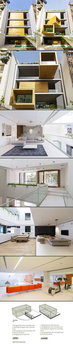The Sharifi House in Tehran is a beautiful space-saving home that comes with a set of assembly instructions. Iranian architects at nextoffice designed the house with a series of semi-mobile rooms that can be rotated by a simple push of a button in order to provide extra space and get optimal amounts of sunlight.