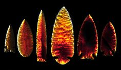 Spear Point Collection made from fire opal by Woody Blackwell