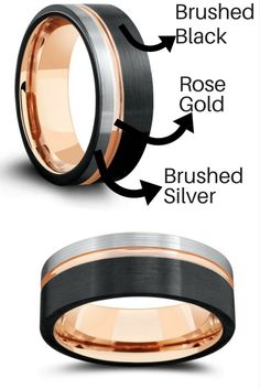 Mens tungsten wedding ring. Modern design with three tone colors. Black, silver, and rose gold. My husband really wanted a rose gold wedding ring and this would be perfect!
