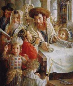 Purim by Elena Flerova (Russian, 1941 - ) Cultura Judaica, Arte Judaica, Jewish History, Jewish Art, Israel, Oil Painting Gallery, Painting Art, Torah, Paintings For Sale