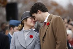 Canada's Prime Minister Justin Trudeau and his wife Sophie share a moment during Remembrance Day ceremonies at the National War Memorial in Ottawa, Canada November 11, 2015. (Chris Wattie/Reuters)