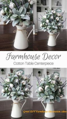 In a farmhouse design, the side table seems to have important roles that are unreplaceable. The farmhouse side table is Farmhouse Design, Farmhouse Style, Rustic Farmhouse, Farmhouse Ideas, Farmhouse Table Centerpieces, Farmhouse Table Decor, Centerpiece Wedding, Blog Deco, Living Room Decor