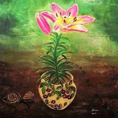 Lilly Acrylic on Canvas 26cm x 18cm Oil Paintings, Art, Kunst, Oil On Canvas, Art Education, Artworks