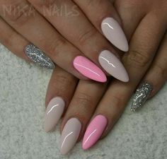 Almond Nails. Pink Nails. Glitter Nails. Acrylic Nails.