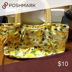 """Old navy yellow floral print bag maybe 5-6"""" tall, 10"""" long, 2-3"""" deep. Old Navy Bags"""