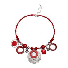 Mixit™ Red Shell Silver-Tone Coil Shakey Necklace