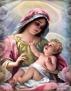 Santa maria, madonna and child, catholic saints, catholic art, religious art Jesus Mother, Blessed Mother Mary, Blessed Virgin Mary, Baby Jesus, Queen Mother, Religious Pictures, Religious Icons, Religious Art, Jesus E Maria
