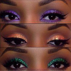 Makeup For Black Beauty Ebony Women Glitter Eyeshadow Purple Orange Green Eyebrows On Fleek Flawless