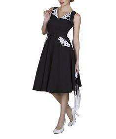 Look at this #zulilyfind! Black & White Polka Dot Brigit Circle Skirt - Women & Plus by Tatyana #zulilyfinds