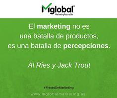El marketing no es una batalla de productos, es una batalla de percepciones.  Al Ries y Jack Trout  #FrasesDeMarketing #MarketingRazonable #MarketingQuotes