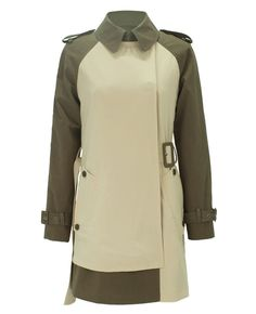 Color-block Belted Long Sleeves Trench Coat | BlackFive