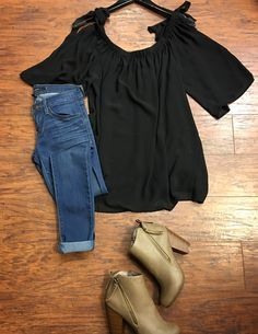 💕🙀NEW ARRIVALS //::Off the shoulder Tie black  •Top •Denim (SALE) •Booties::// >>Pair with distressed denim; white denim; choker; white slip on sneakers<< . For immediate assistance call ☎️701-356-5080 (We Ship📦