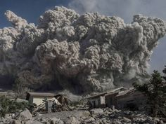 Mount Sinabung volcano spews giant volcanic ash in Karo, North Sumatra. Sinabung is one of 129 active volcanoes in Indonesia, which sits on the Pacific Ring of Fire, a belt of seismic activity running around the basin of the Pacific Ocean