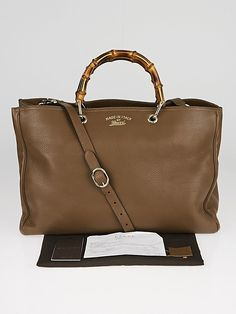 dabf0c964b2 Gucci Brown Pebbled Leather Large Bamboo Shopper Tote Bag