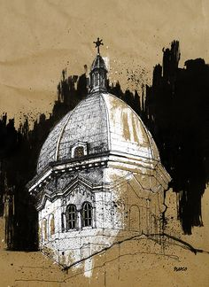 Manila Cathedral I, Ink on paper, 2014 #manila #cathedral #architecture #pen #brush #ink #drawing #painting #sketch #brown #paper #sketchbook #art #philippines #intramuros #blasco
