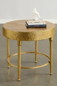 """Geneva Gold Side Table by Statements by J on @HauteLook The embossed surface adds a charming touch to this side table. - Embossed detail - Color: gold - 19"""" H x 20"""" W x 20"""" L - Imported"""