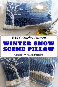 Learn how to crochet a Fair Isle Winter Snow Scene Pillow which is perfect as a gift, for yourself or someone else. This crochet pattern using the Waistcoat stitch is easier than you might think. It's the perfect weekend project especially through Winter. #crochet #pattern #crochetpattern #freecrochetpattern #crochettechniques #tutorial #crochettutorial #winter #diy #diyideas #giftideas #makeup #snowflake #pillow #snow #fairisle Crochet Cushion Cover, Crochet Cushions, Crochet Pillow, Crocheted Afghans, Crochet Mittens, Blanket Crochet, Crochet Granny, Basic Crochet Stitches, Crochet Basics