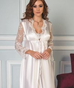 Pierre Cardin 6250 6 Pcs Satin Robe Set will make you redefine comfort when you wear this cozy and stylish set. Satin Nightie, Lace Nightgown, Satin Lingerie, Pretty Lingerie, Lingerie Sleepwear, Nightwear, Women Lingerie, Pierre Cardin, Bridal Robes