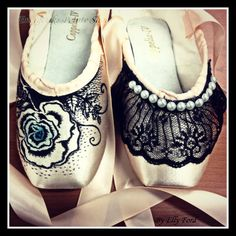 Roses 'n Lace: Two of the new designs coming soon... Decorated Pointe Shoes by Elly Ford | Energetiks