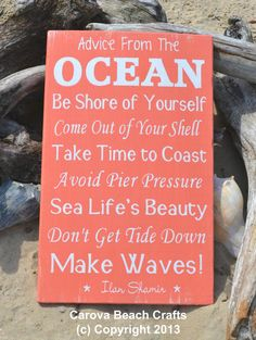 Beach Decor Coastal Decor Nautical Advice by CarovaBeachCrafts. Love!