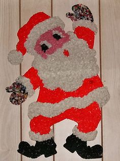 Vintage 1970's Popcorn Art Santa Claus